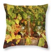 White Wine And Vineyard Autumn Season Throw Pillow