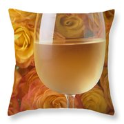White Wine And Yellow Roses Throw Pillow