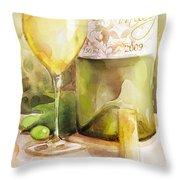 White Wine Watercolor Throw Pillow