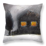White Winter Night Throw Pillow