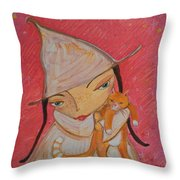 White Witch And Kitty Poo Throw Pillow