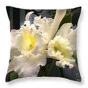 White With Yellow Orchids  Throw Pillow