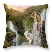 White Wolf Falls Throw Pillow