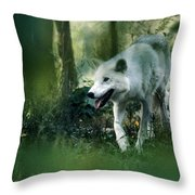 White Wolf Walking In Forest Throw Pillow