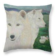 White Wolves Guarding Their Pups Throw Pillow