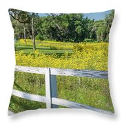 White Wood Fence And Wildflowers Throw Pillow