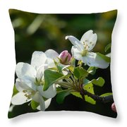 White Woodland Crabapple Flowers Throw Pillow
