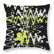 White Yellow On Black Throw Pillow
