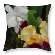 White Yellow Orchids Throw Pillow