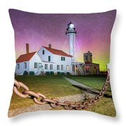 Whitefish Point Lighthouse   Northern Lights -0524 Throw Pillow