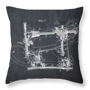 Whitehill Sewing Machine Patent 1885 Chalk Throw Pillow