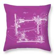 Whitehill Sewing Machine Patent 1885 Pink Throw Pillow