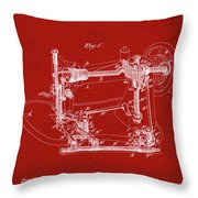 Whitehill Sewing Machine Patent 1885 Red Throw Pillow