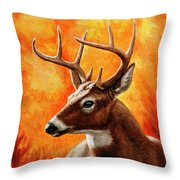 Whitetail Buck Portrait Throw Pillow