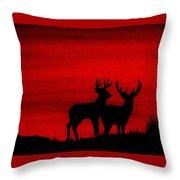 Whitetail Deer At Sunset Throw Pillow