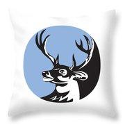 Whitetail Deer Buck Head Circle Retro Throw Pillow