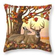 Whitetail Deer - Hilltop Retreat Throw Pillow by Crista Forest