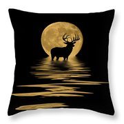 Whitetail Deer In The Moonlight Throw Pillow