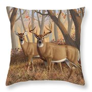 Whitetail Deer Painting - Fall Flame Throw Pillow