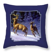 Whitetail Deer Painting - Startled Throw Pillow