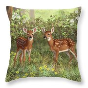 Whitetail Deer Twin Fawns Throw Pillow by Crista Forest