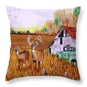 Whitetail Deer With Truck And Barn Throw Pillow