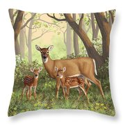 Whitetail Doe And Fawns - Mom's Little Spring Blossoms Throw Pillow by Crista Forest