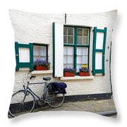 Whitewashed Brick House With Green Trimmed Shutters In Bruges Throw Pillow