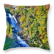 Whitewater Falls North Carolina Throw Pillow
