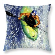 Whitewater Kayaker Throw Pillow