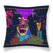 Who Dat At Night In The Quarter Throw Pillow