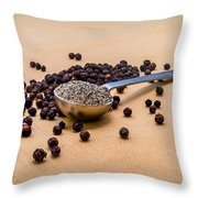 Whole Black Peppercorns With A Heaping Teaspoon Of Ground Pepper Throw Pillow