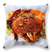 Whole Cooked Dungeness Crab With Peanut Sauce And Spices On Whit Throw Pillow