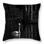 Whooper Swan In Bw 1 Throw Pillow