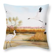 Whooping Cranes-jp3151 Throw Pillow