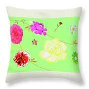 Whoosh Of Flowers Throw Pillow