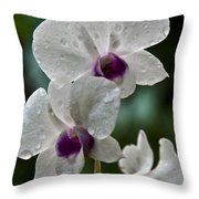 Whte Orchids Throw Pillow