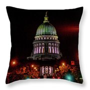 Wi State Capitol From West Washington Ave Throw Pillow
