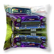 Wicked 1955 Chevy - Reflection Throw Pillow