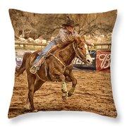 Wickenburg Senior Pro Rodeo Barrel Racing Throw Pillow