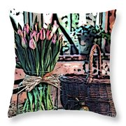 Wicker Basket And Flowers Throw Pillow