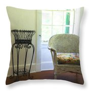Wicker Chair And Planter Throw Pillow