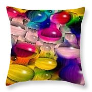 Wicker Marble Rainbow Fractal 2 Throw Pillow