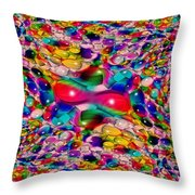 Wicker Marble Rainbow Fractal Throw Pillow