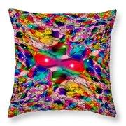 Wicker Marble Rainbow Fractal Throw Pillow