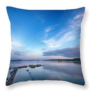 Wide Angled Sunset Over Moosehead Lake Throw Pillow