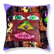 Wide Eyed Loup Garou Mardi Gras Screen Mask Throw Pillow