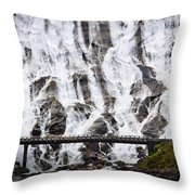 Wide Waterfal Joining The Sea Throw Pillow