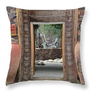 Wider Shot Stone Garden Wall And Clay Urns Throw Pillow