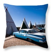 Wigwam Motel Classic Car #6 Throw Pillow